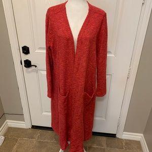 LulaRoe Red Tweed Sarah Duster Open Front Cardigan